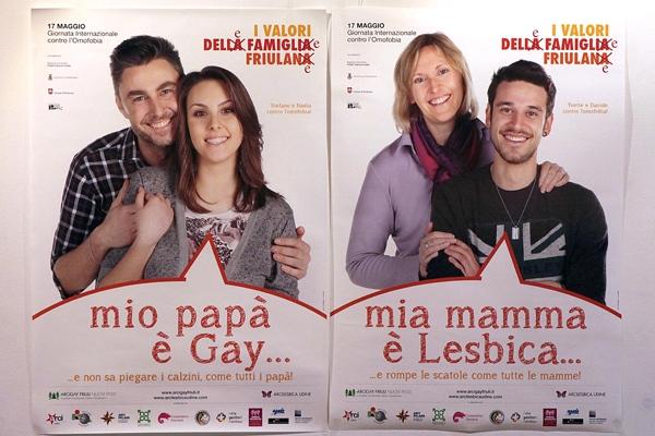 Manifesti contro l'omofobia a Udine